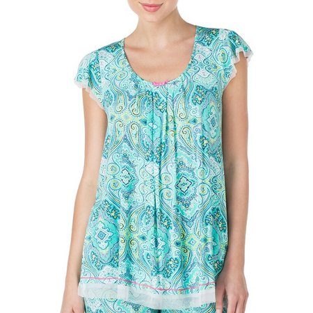 Ellen Tracy Womens Paisley Flutter Pajama Top