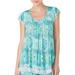 New! Ellen Tracy Womens Paisley Flutter Pajama Top