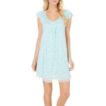 Ellen Tracy Womens Mesh Scroll Print Nightgown