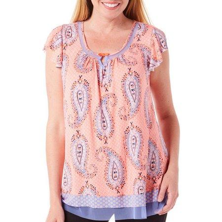 Ellen Tracy Womens Paisley Print Mesh Pajama Top