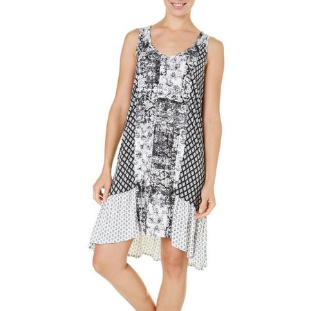 Ellen Tracy Womens Patch Print Chemise Nightgown