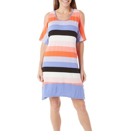 Ellen Tracy Womens Stripe Cold Shoulder Nightgown