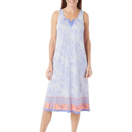 Ellen Tracy Womens Ikat Paisley Nightgown