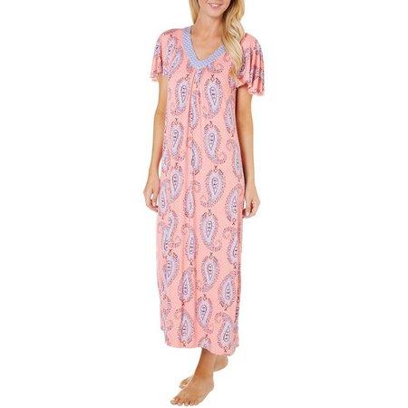 Ellen Tracy Womens Paisley Print Kaftan Nightgown