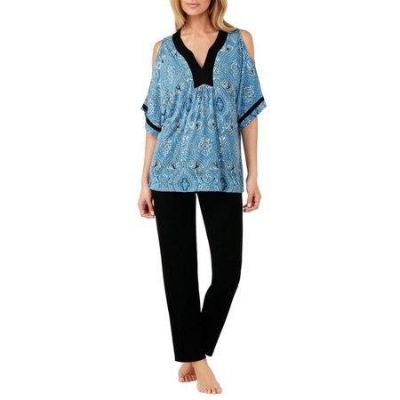 Ellen Tracy Womens Cold Shoulder Kaftan Pajama Set