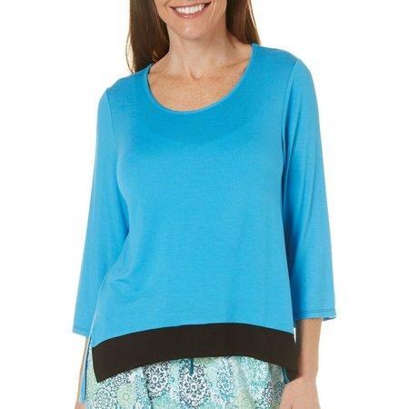 Ellen Tracy Womens Stripe High-Low Pajama Top