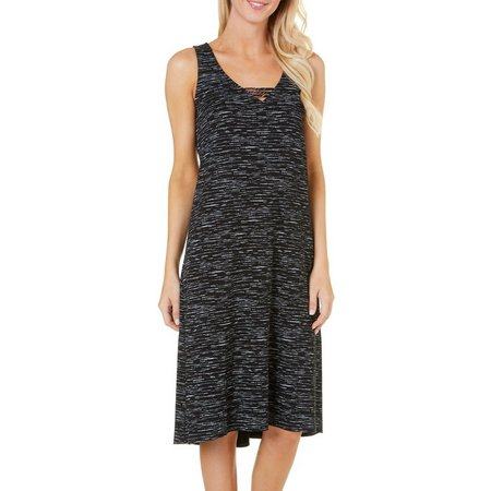Ellen Tracy Womens Space Dye V-Neck Nightgown