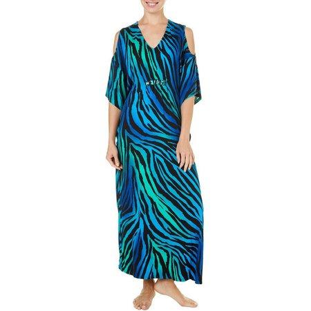 Ellen Tracy Womens Zebra Kaftan Nightgown