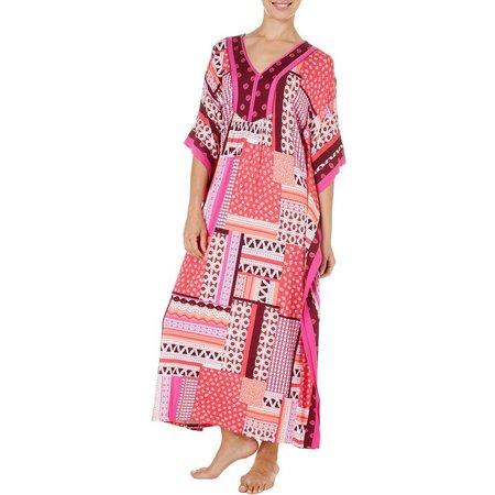 Ellen Tracy Womens Patchwork Boho Kaftan Nightgown