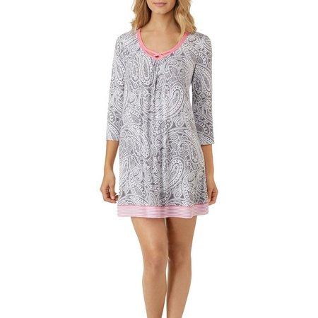 Ellen Tracy Womens Paisley Tunic Nightgown