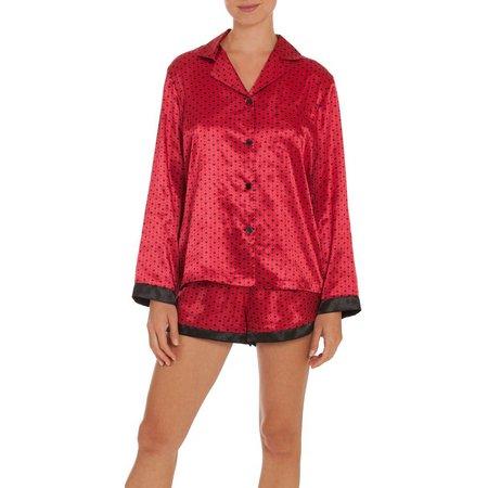 Linea Donatella Womens Heart & Dots Satin Pajama