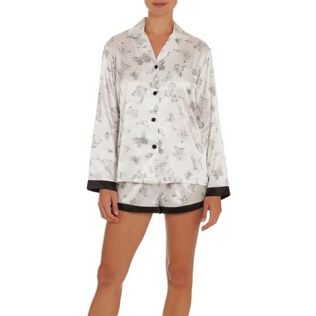 Linea Donatella Womens Butterfly Satin Pajama Shorts Set