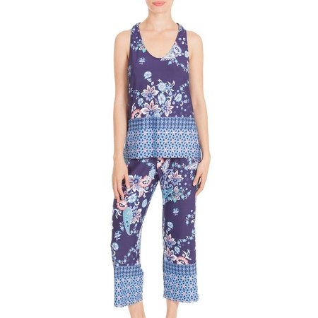 Linea Donatella Womens Sleeveless Capri Pajama Set