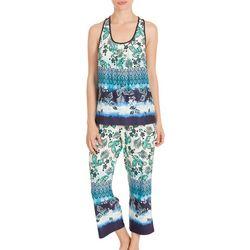 New! Linea Donatella Womens Lace Racerback Pajama Set