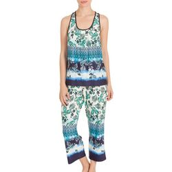 New! Linea Donatella Womens Lace Racerback Pajama Set