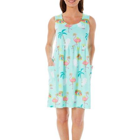 Coral Bay Womens Flamingo Beach Leisure Dress