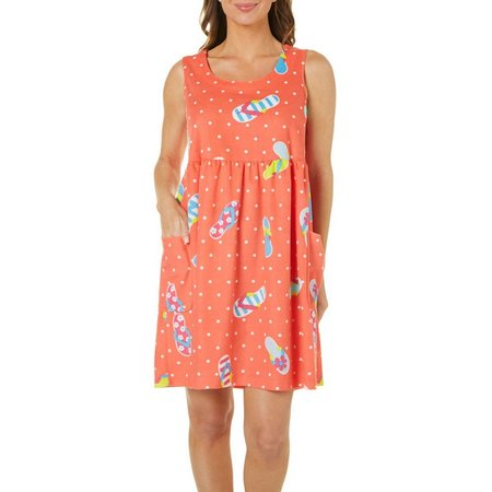 Coral Bay Womens Flip Flop Dot Leisure Dress