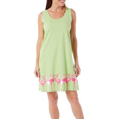 Coral Bay Womens Flamingo Border Leisure Dress
