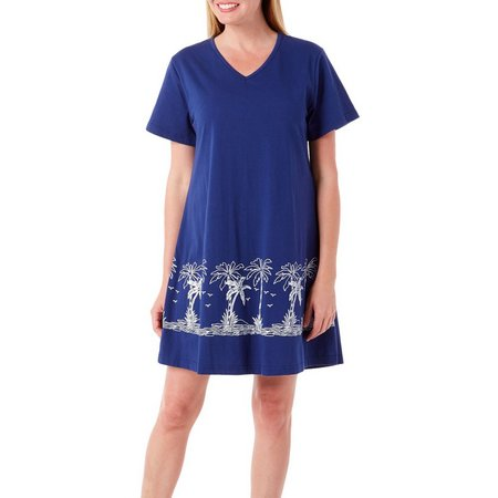 Coral Bay Womens Palm Tree V-Neck Leisure Dress