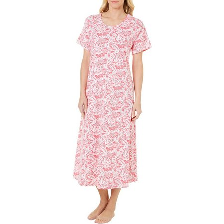 Coral Bay Womens Tropical Palm Leisure Nightgown