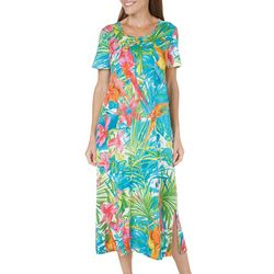 Coral Bay Womens Parrot Print Henley Nightgown