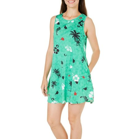 Coral Bay Womens Palm Floral Tank Leisure Dress