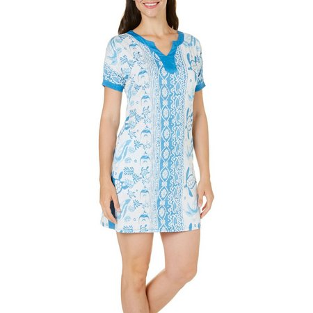 Coral Bay Womens Sea Life Print Leisure Dress