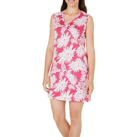 Coral Bay Womens Leaf Print Tank Leisure Dress