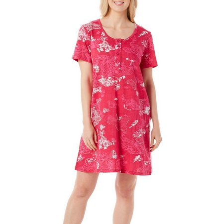 Coral Bay Womens Butterfly Henley Leisure Dress