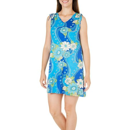 Coral Bay Womens Beaded Floral Tank Leisure Dress