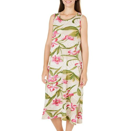 Coral Bay Womens Hibiscus Button Leisure Dress