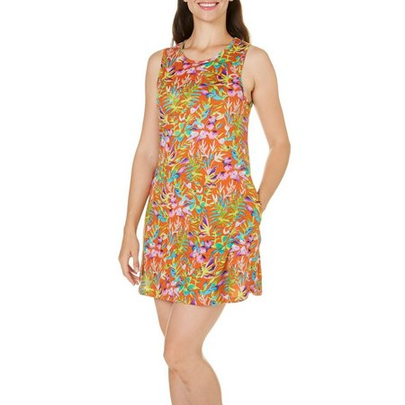 Coral Bay Womens Floral Pocket Tank Leisure Dress