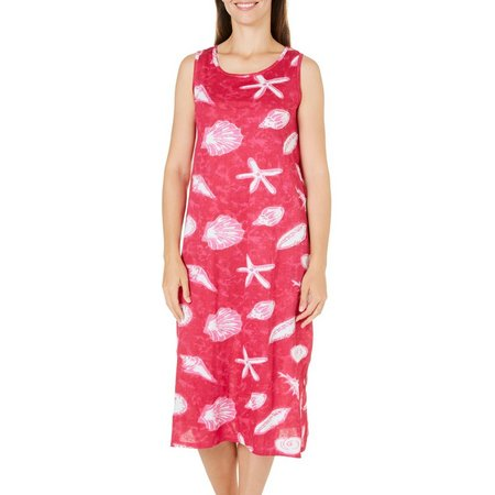Coral Bay Womens Seashell Button Leisure Dress