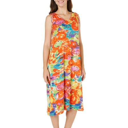 New! Coral Bay Womens Floral Watercolor Nightgown