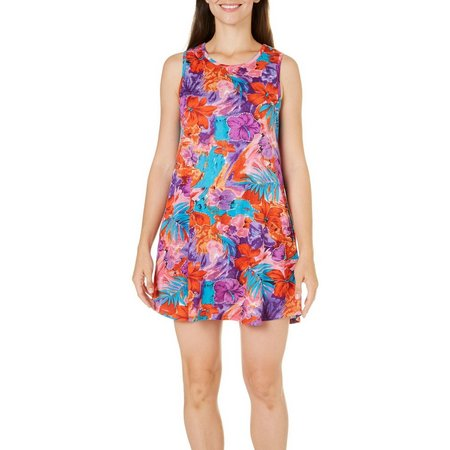 Coral Bay Womens Tropical Floral Leisure Dress