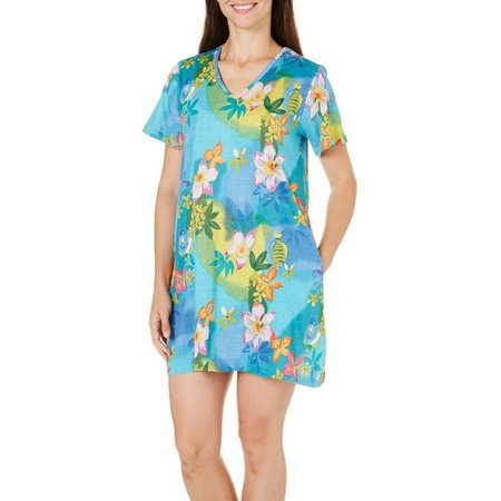 Coral Bay Womens Floral Fish Leisure Dress