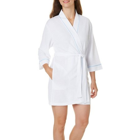 Coral Bay Womens Solid Houndstooth Bath Robe