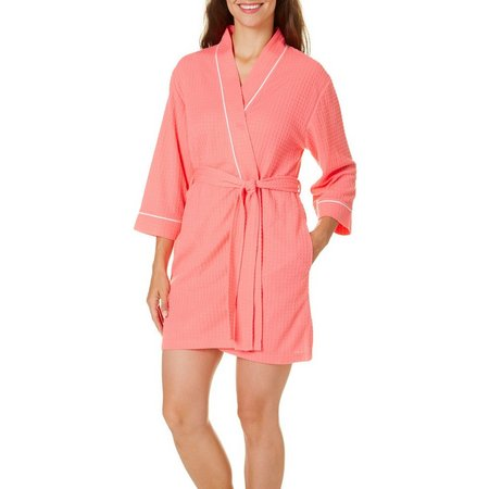 Coral Bay Womens Houndstooth Trim Bath Robe