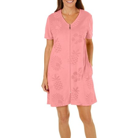 Coral Bay Womens Pineapple Zip Up Bath Robe