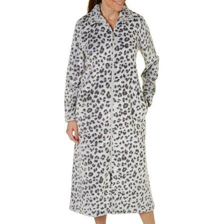 Coral Bay Womens Leopard Zip Robe
