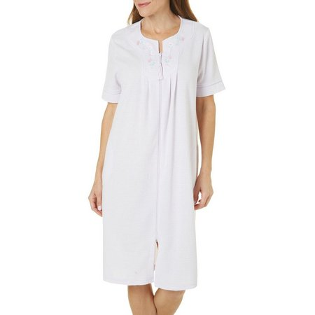 Jasmine Rose Womens Blister Zipper Duster Robe