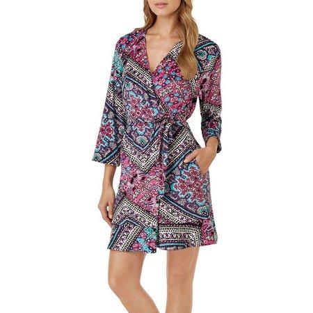 Ellen Tracy Womens Mixed Floral Velour Wrap Robe