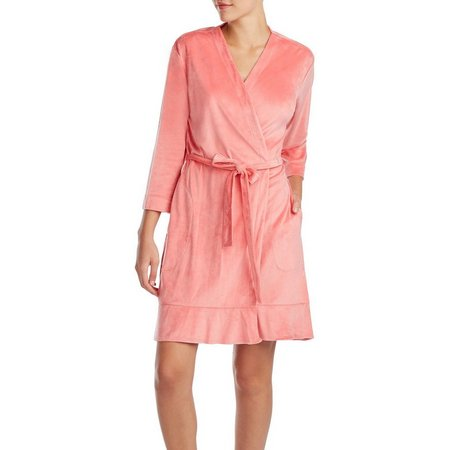 Ellen Tracy Womens Solid Velour Wrap Robe