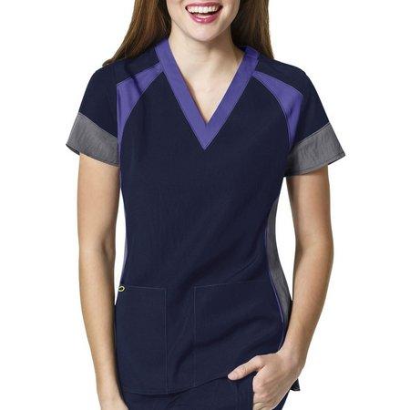 WonderWink Womens 4-Stretch Colorblock Scrub Top