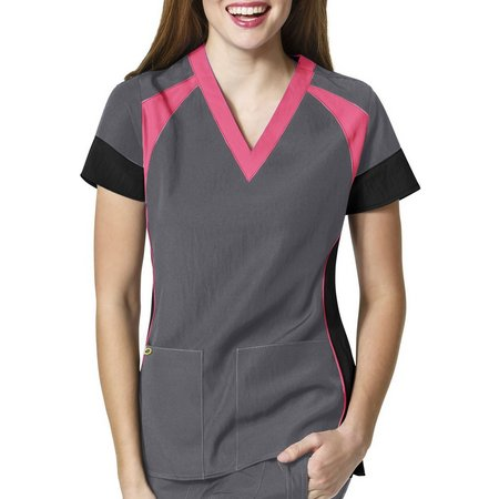 WonderWink Womens 4-Stretch Colorblocked Scrub Top