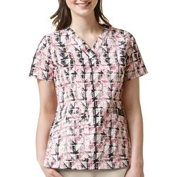 WonderWink Womens Origins Tile Print Scrub Top
