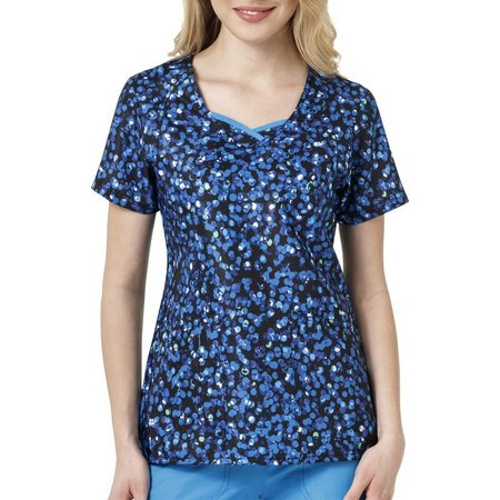 WonderWink Womens 4-Stretch Dots Scrub Top