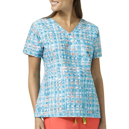 Vera Bradley Womens Abstract Block V-Neck Scrub Top