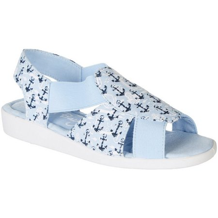 Coral Bay Womens Maggie Anchor Memory Foam Sandals
