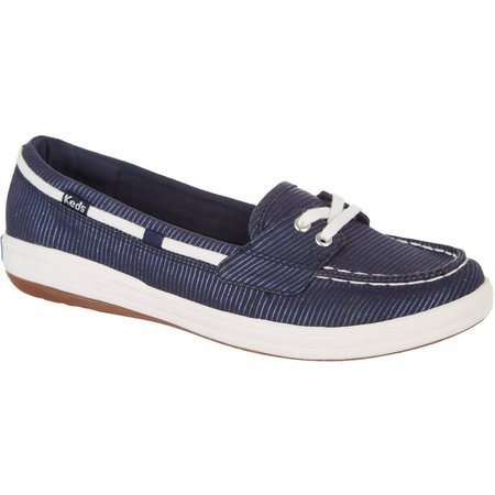 Keds Glimmer Stripe Canvas Boat Womens Shoes (Navy Blue)